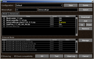 checkbox へチェックを入れるだけ簡単導入。mod にエラーがある場合はエラーも表示される。
