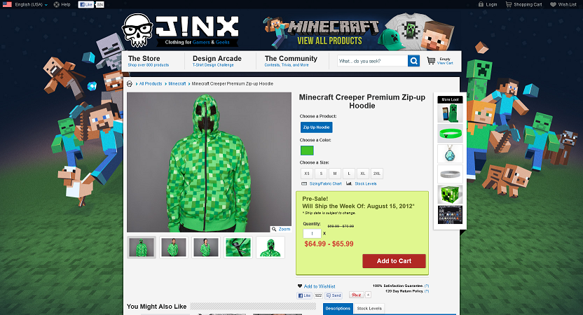 creeper zip up hoodie