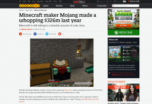 Minecraft maker Mojang made a whopping $326m last year - GameSpot(1)