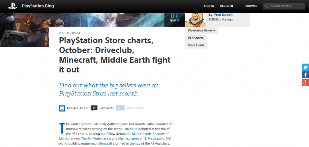 PlayStation Store charts, October- Driveclub, Minecraft, Middle Earth fight it out - PlayStation.Blog.Europe