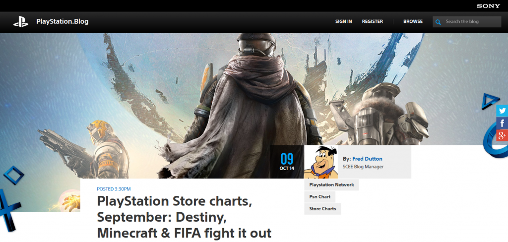 PlayStation Store charts, September- Destiny, Minecraft & FIFA fight it out - PlayStation.Blog.Europe