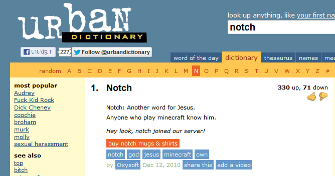 Urban Dictionary- notch