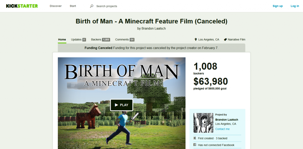 Birth of Man - A Minecraft Feature Film (Canceled) by Brandon Laatsch — Kickstarter